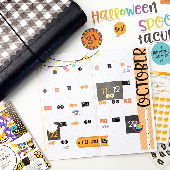 Jennie McGarvey Doodlebug Designs Monthly View Travelers Notebook Halloween